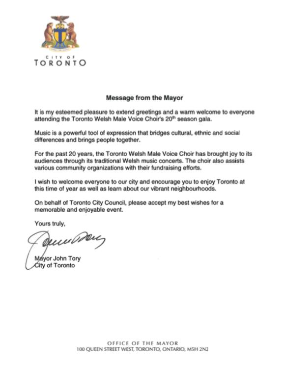 Letter from Mayor John Tory