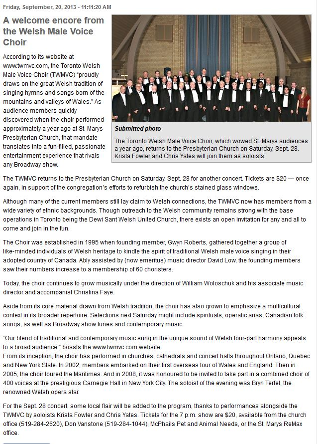 Press/Links | Toronto Welsh Male Voice Choir (twmvc)